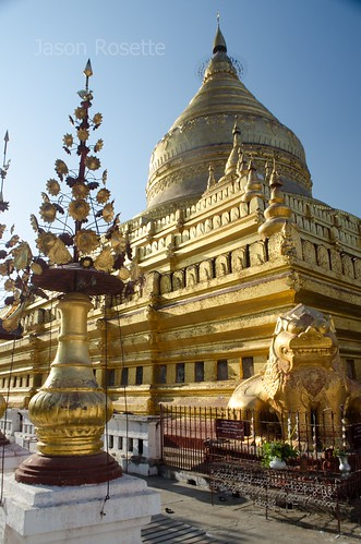 Golden Flower Vase Figure in Foreground with Golden Temple in Back