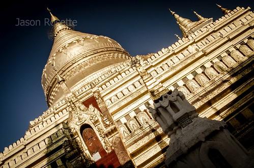 Sunny side of Massive Golden Temple in Bagan, Myanmar