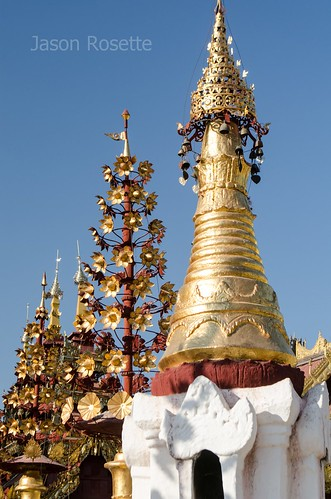 Golden Buddhist Spires in a Line with White Stupa, Burma (#2)