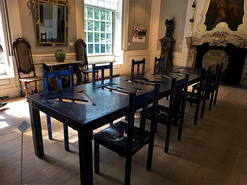 Glass table and chairs in Nijenhuis Castle / Museum De Fundatie