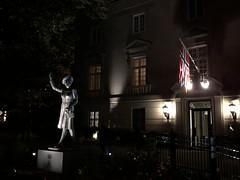 Crown Princess Märtha statue lit at night, Embassy of Norway, Washington, D.C.