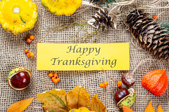 Congratulatory background for thanksgiving on the background of burlap