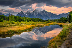Image by James Neeley (jpn) and image name Rise Up photo  about Morning view of the Tetons at Schwabacher Landing in Grand Teton National Park.