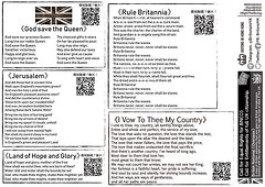 Lyrics of God Save the Queen, Jerusalem, Land of Hope and Glory, Rule Britannia, I Vow To Thee My Country