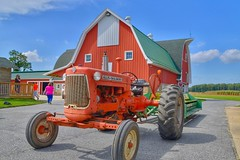 Red Gambrel Barn, Vintage Tractor