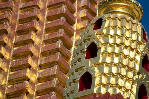 Detail of Golden Domed Spire of Major Temple in Bagan, Myanmar
