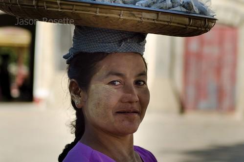 Woman with Fish on Her Head, Burma