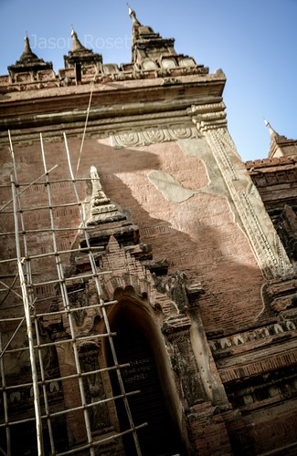 Bagan Temple Under Renovation with Wooden Ladders