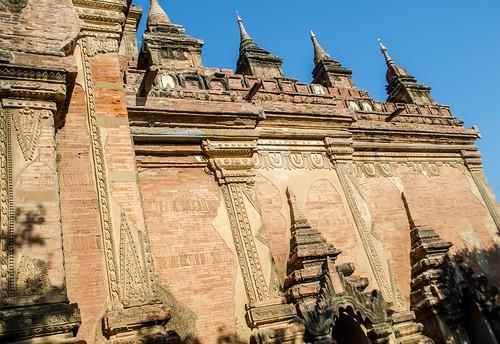 Canted View of Corner of Large Brick Temple, Bagan, Myanmar