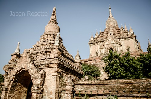 Bright Afternoon Sun on Temple Complex in Bagan, Myanmar
