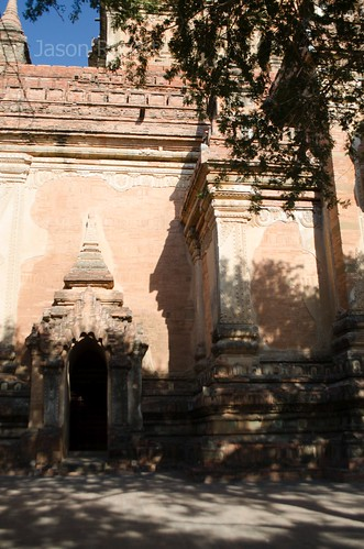 Brightly lit wall and doorway on temple in Bagan, Myanmar