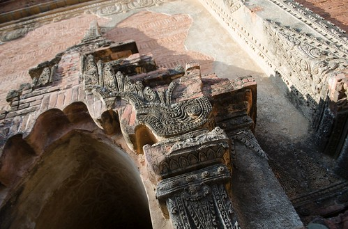 Low angle detail of conrete lintel on temple in Bagan, Myanmar (#2)