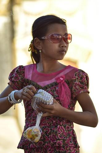 Fashionable Burmese Girl with Sunglasses in Bagan, Myanmar