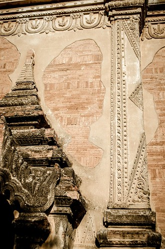 Outer wall and partial arched doorway at temple in Bagan, Myanmar
