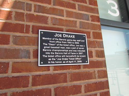 Joe Drake Plaque at Regions Field -- Birmingham, AL, August 30, 2019
