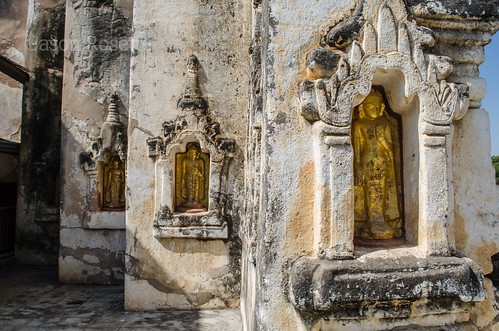 Three Golden Buddhas in a Temple in Bagan