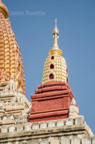 Detail of Golden Domed Spire of Major Temple in Bagan, Myanmar (wider)