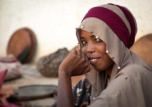 Cute veiled ethiopian girl in the market, Harari region, Harar, Ethiopia