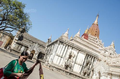 Burmese Woman Walks in Foregorund Near Bagan Temple, Myanmar