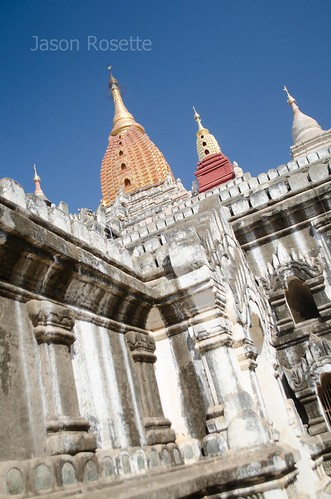 View of Three Spires on Temple Complex in Bagan, Myanmar