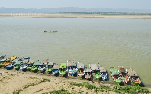 Row of Boats on bank of the Irriwaddy River, Burma (Wide View)