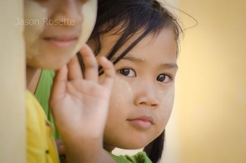 Shy Girl and Friend at Bagan Temple, Burma