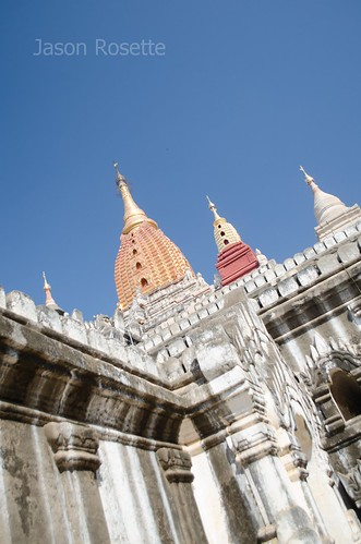 View of Three Spires on Temple Complex in Bagan, Myanmar (variation)