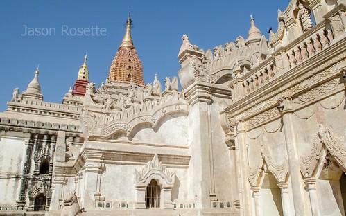 Corner Courtyard View of Large Temple in Bagan, Myanmar