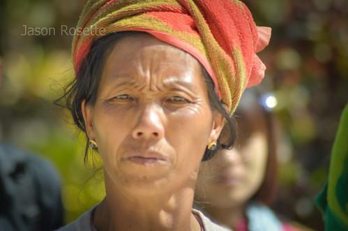 Burmese Woman Arrives at the Temple in Bagan