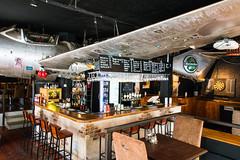 An airplane piled on a bar