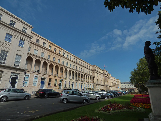 Photo:Cheltenham Borough Council - Municipal Offices and the Statue of Edward Wilson - Promenade, Cheltenham By ell brown