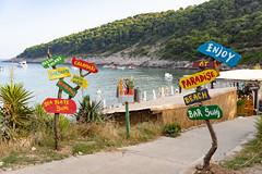 Beach bars at Sunj Beach on Lopud Island, Croatia