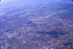 Image by mplstodd (21206707@N08) and image name SW Suburban Minneapolis -- October 1999 photo  about I-494 cuts diagonal from center-left to lower-right, Eden Prairie is in foreground