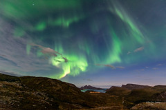 Image by mirrormatch (langhaug) and image name Nordlys over Lyfjorden photo  about First aurora capture of this season. Hopefully more to come.