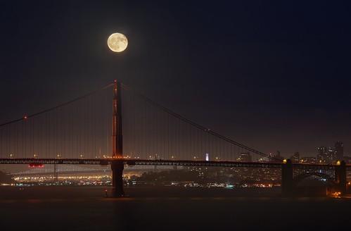 Harvest moon over the Golden Gate