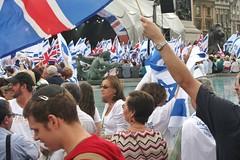 Israeli and British Flags fly in London's Trafalgar Square