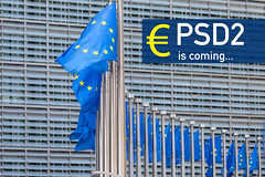 European flags with PSD2 is coming text