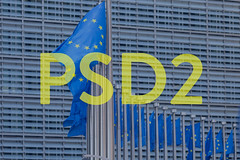 European flags with yellow PSD2 text
