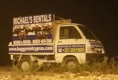 Buggy Rental Cyprus 4-wheeled advertising hoarding.