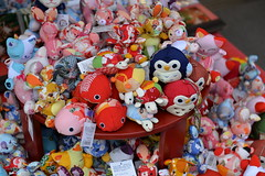 A riot of colour in the display of these stuffed toys