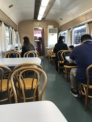 A restaurant in a preserved dining car in the Kyoto Railway Museum