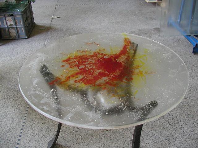 Umělecké sklo stolní deska