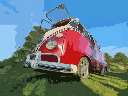 red VW Bulli T2