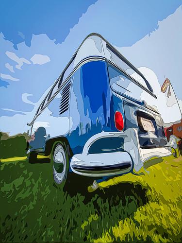 Blue VW Bulli T2