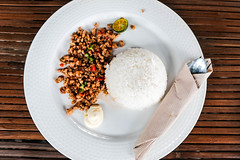 Top shot of a pork sisig dish