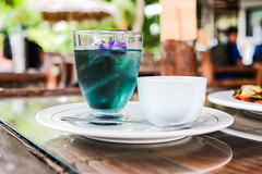 Detail shot of a iced mint tea with sugar syrup