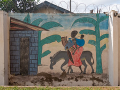Maasai Woman with Baby, Milk Gourds and Maasai Donkey - mural