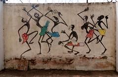 Tinga Tinga Mural - Maasai Dancers with Gourd Rattles and Tribal Drums