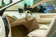 Comfortable Interior design, steering wheel and displays in the electric SUV BMW Vision iNext