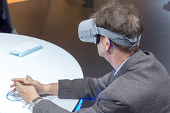 Using VR at IAA car show in Germany, to experience the new electric car Honda-e